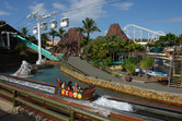 Flume ride, cable car, volcano, roller coaster