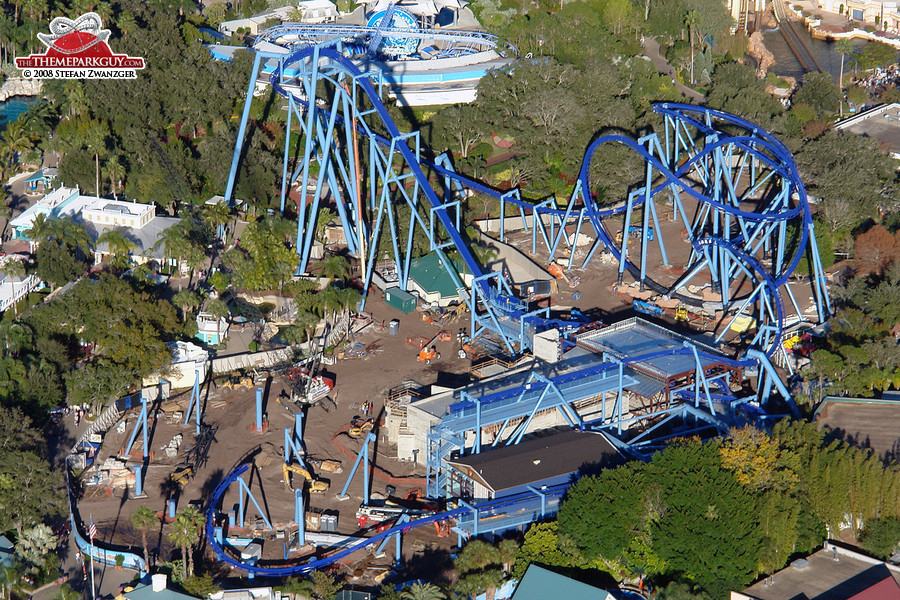 Manta flying coaster under construction from above
