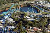 Kraken roller coaster from above