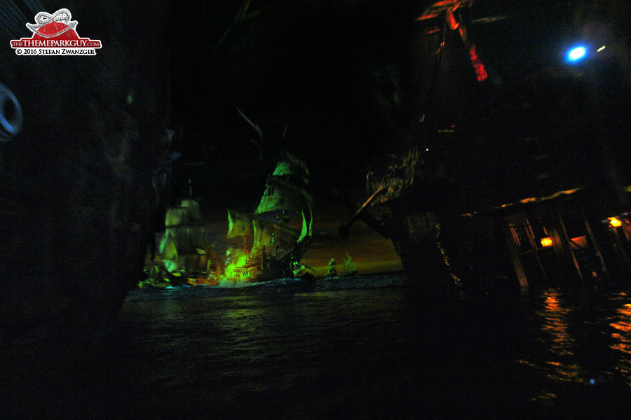 Props, water and projections thrown together at Pirates of the Caribbean