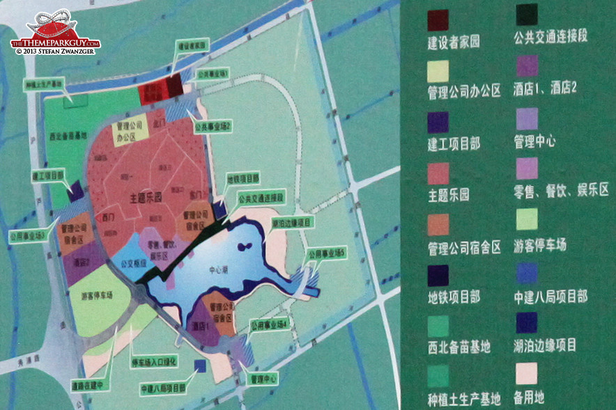 Shanghai Disney Resort layout. Theme park territory is marked red.