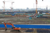 Shanghai Disneyland theme park construction site, September 2013