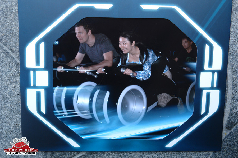 My Chinese friend Karen and I on the Tron coaster