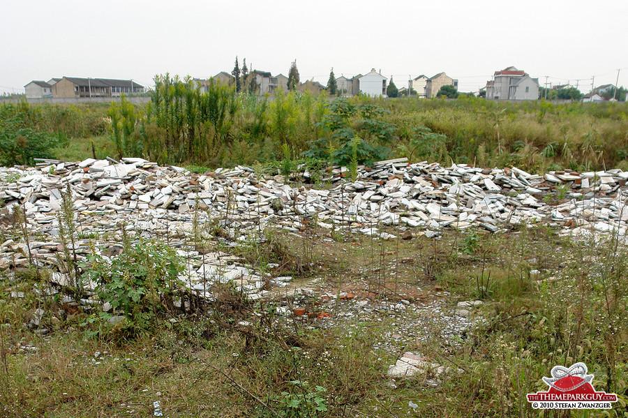 Demolished houses on site