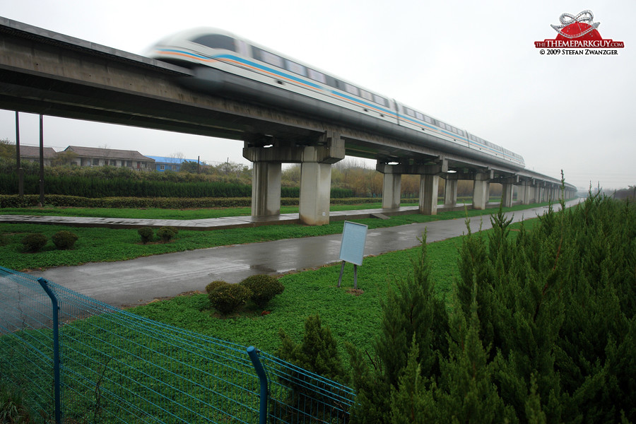 The high-speed Maglev train passes through Chuansha