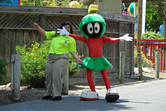 Marvin the Martian with park employee