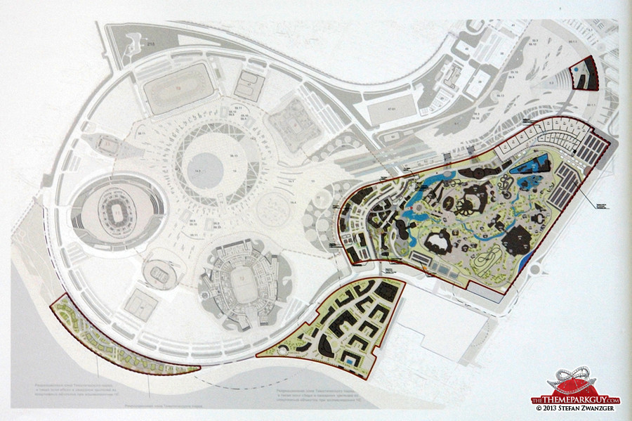 Olympic parameter layout, including stadiums (left) and theme park (right)
