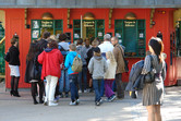 Queues to the ticket counters