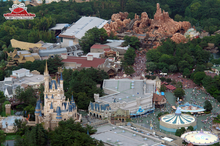 Cinderella Castle, with Westernland in the background