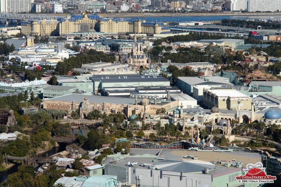 Tokyo Disneyland, seen from the adjacent DisneySea park