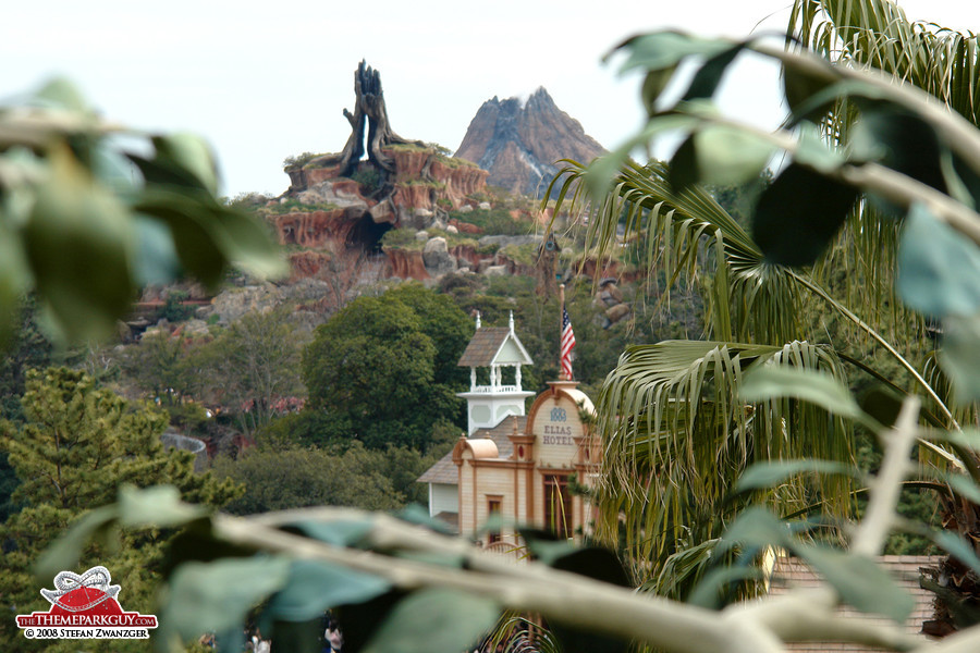 Splash Mountain, with DisneySea's volcano in the background