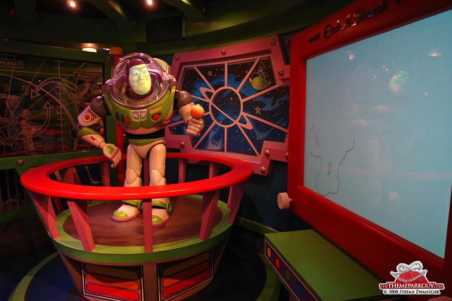 In the Buzz Lightyear's Astro Blasters queue