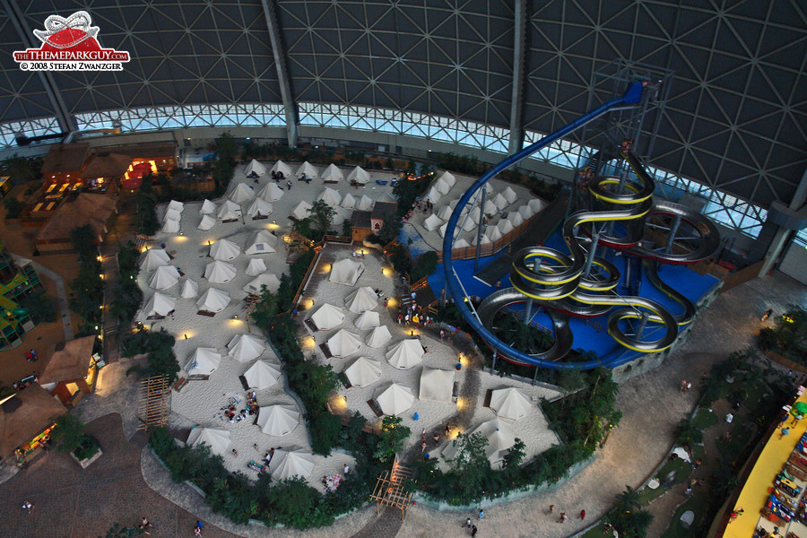 Slide tower and tents from above ... & Tropical Islands - photographed reviewed and rated by The Theme ...