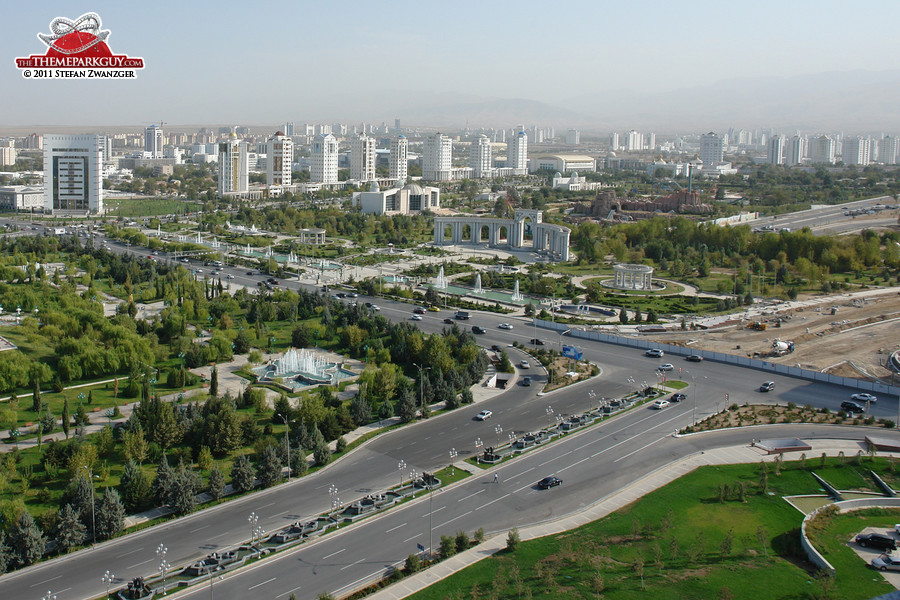 Asghabat, capital of Turkmenistan (Turkmenbashi's Land of Fairy Tales on the right)