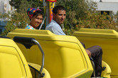 Turkmen couple in Ashgabat roller coaster