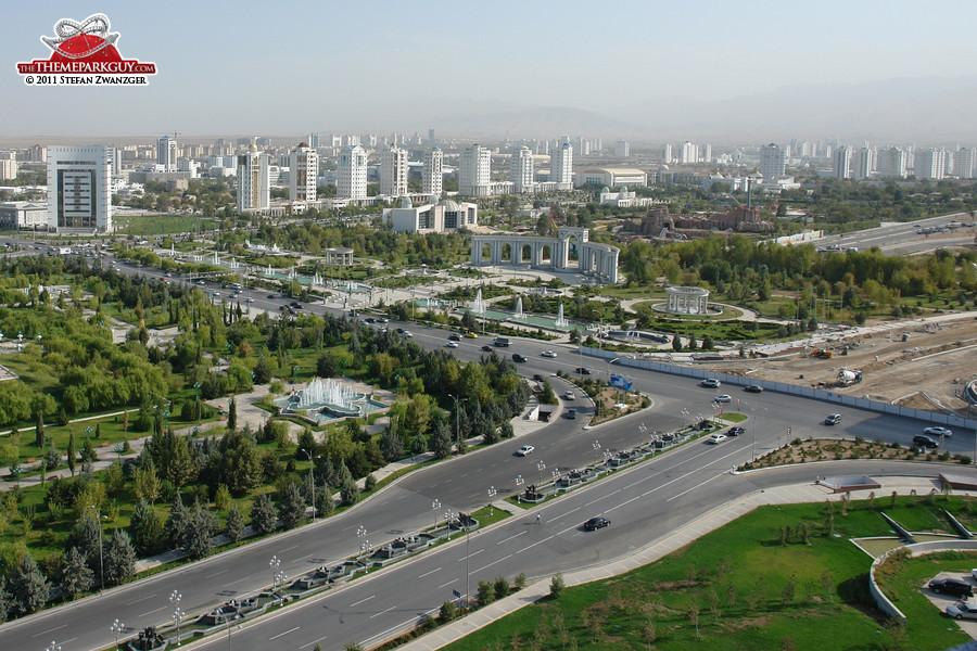 Asghabat, capital of Turkmenistan (Turkmenbashi's Land of Fairy Tales on the right)