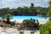 The massive wave pool with the iconic stranded boat in the background