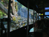 Inside King Kong: 3-D projections on both sides of the tram