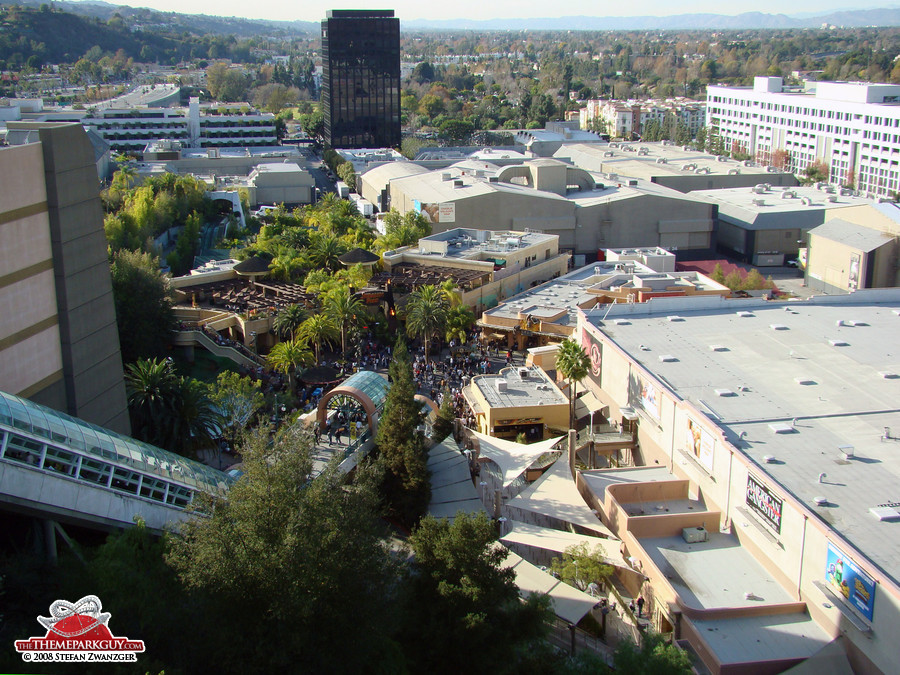 View down on the Lower Lot (where Jurassic Park and Mummy are located)
