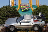 Model of the famous Back to the Future car at the entrance