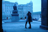 Dostoevsky Statue in front of Lenin Library. Moscow has history!