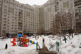 Apartment blocks on the other side of the highway