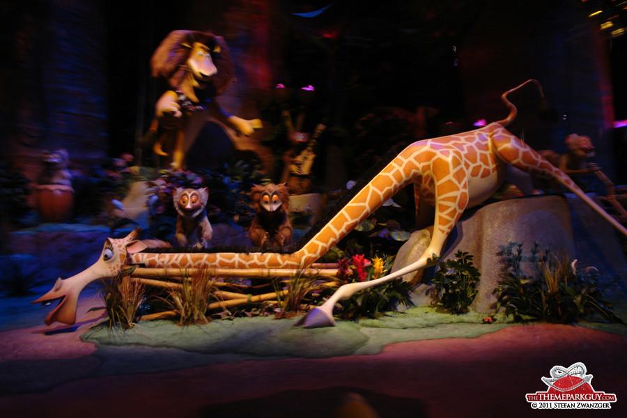 Animatronics inside the Madagascar Ride