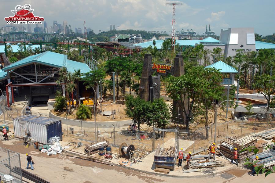 Jurassic Park loading station on the left