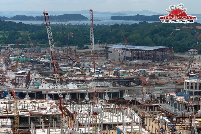 The Mummy Ride building rises at Universal Studios Singapore