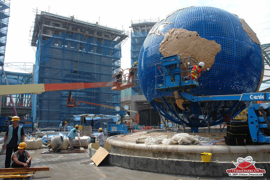Universal globe and gate at the back