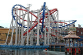 Battlestar Galactica dueling coaster seen from the lake