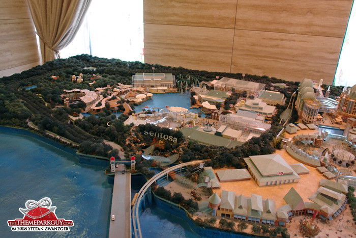 Resorts World Sentosa model seen from the main island