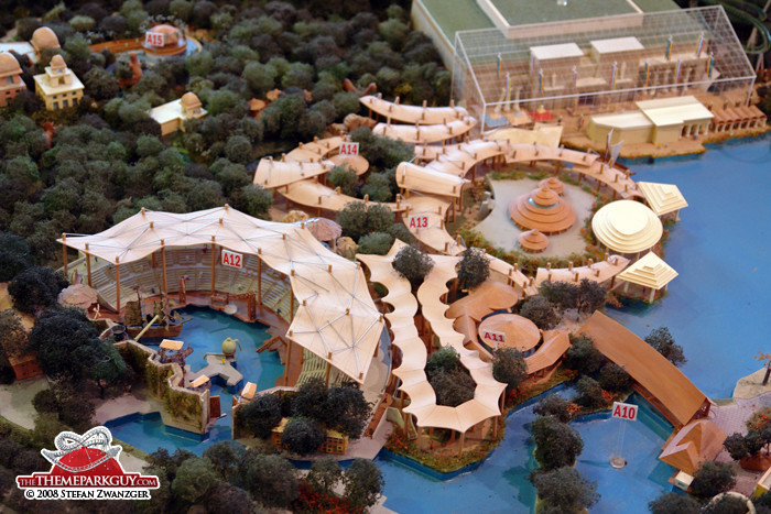 Model of the Waterworld show stadium and the adjacent Jurassic Park section