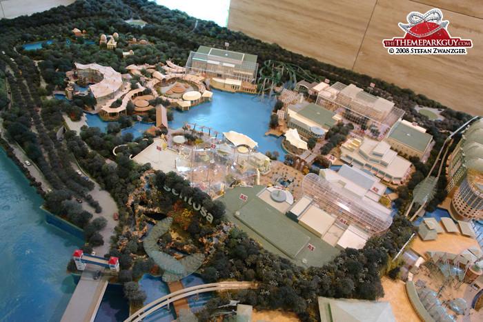 Universal Studios Singapore model at the RWS office