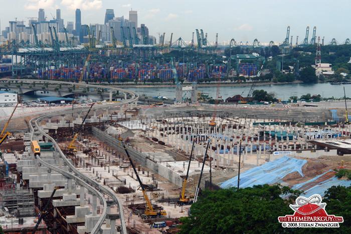 Universal Studios Singapore parking garage piles