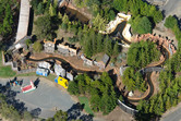 Log flume ride from above