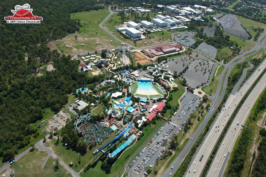 Wet'n'Wild Water World from the helicopter