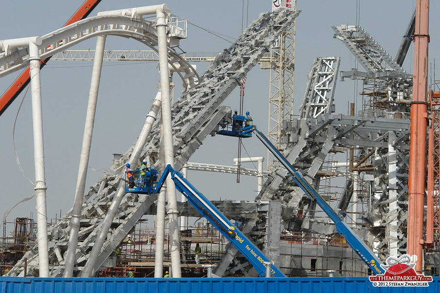 Coaster tracks and steel structures, seen from the outside