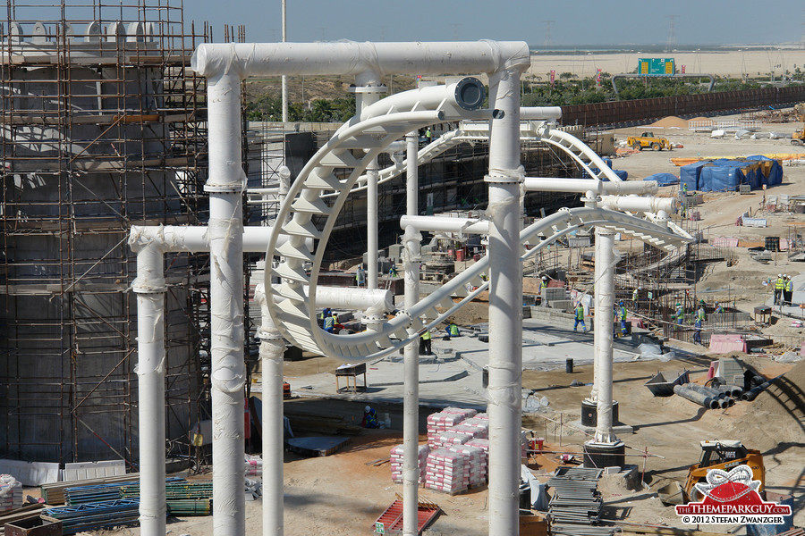 The emerging coaster looks like a snail tentacle