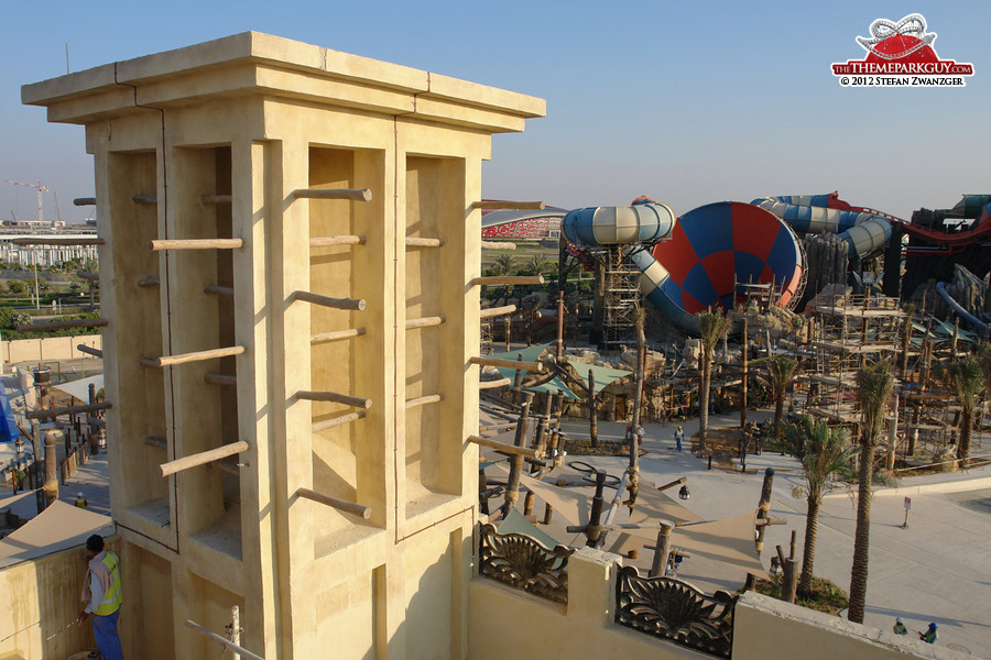View from the souq roof onto the massive Tornado slide
