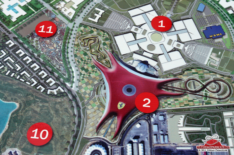 Yas Island map: (2) is Ferrari World, (11) Yas Island Water Park