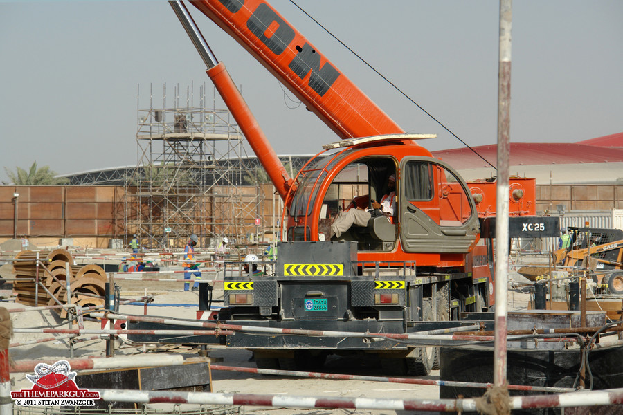 Yas Island Water Park site, with Ferrari World in the background