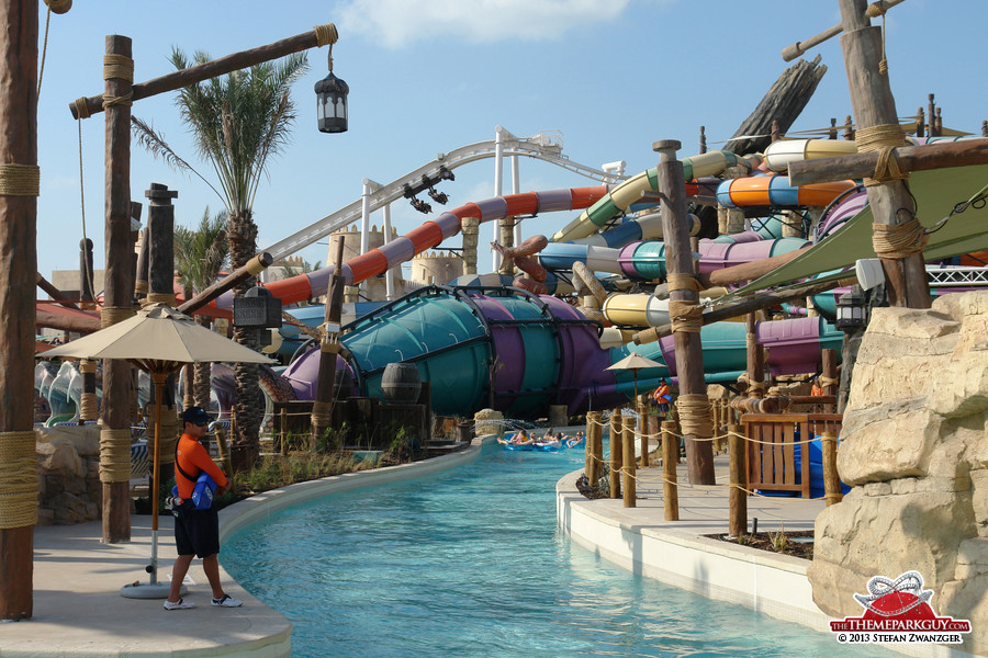 Lazy river (front), 'Rattler' slide (center), Bandit Bomber coaster (back)