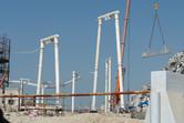 Suspended roller coaster under construction