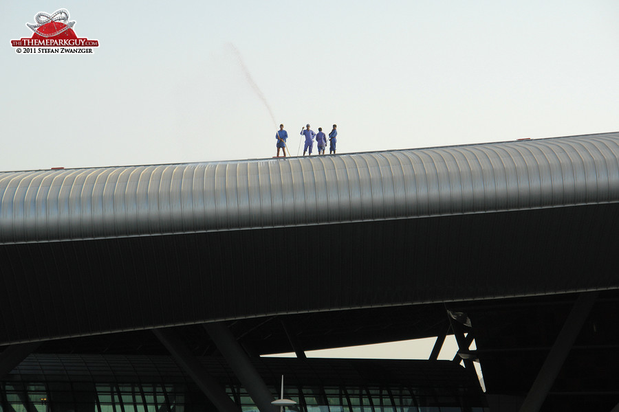 The cleaners on the Ferrari World roof enjoy the best view